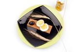 healthy meal with fiber egg olive oil black  poster