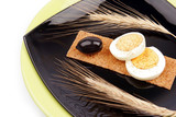 healthy meal with fiber egg black olive and wheat decoration poster
