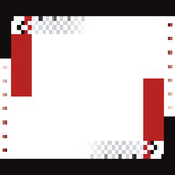 Red and black squares and rectangles border poster