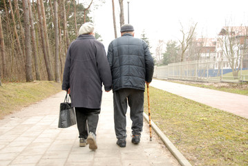 two senior couple strolling through the park