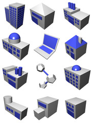Supply chain logistics diagram symbol set in gray and blue