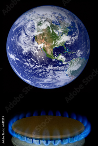 a photo illustration depicting global warming