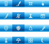 Blue bar software icons poster