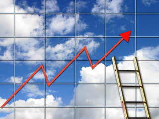 Ladder against sky background overlaid with performance graph