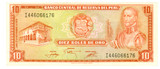 10 solesdeoro bill of Peru, fallow paper, brick-red pattern