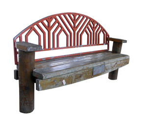 Old Park Bench isolated with clipping path