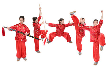 wushu girl in red group