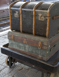 old luggage on station platform poster