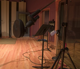 Black microphone in a large recording studio