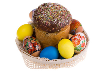 Celebratory dish with easter eggs and cake, isolatad