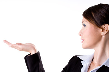 business woman presenting with one hand hold up