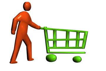 Pushing a retail trolley to buy products