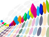 3D Halftone colorful retro dots forming a wave poster