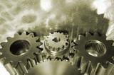 mechanical gears in bronze poster