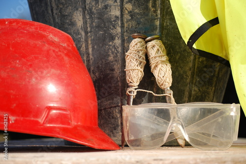 Hard Hat, Safety Glasses, Brick Lines