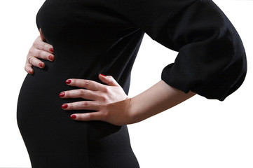 expectant young mother in black evening dress