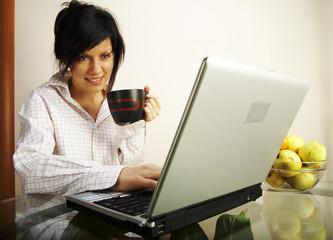 beautiful caucasian woman with laptop