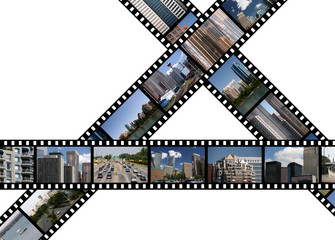 Film strips with travel photos. Calgary, AB, Canada.