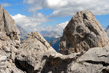 Rock Landscape view of Dolomites mountain