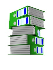Row of green folders with documents on a white background.