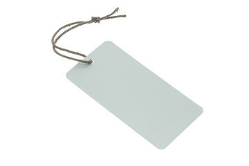 Blank light blue tag isolated on white