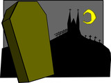 ILLUSTRATION,COFFIN,STANDS,UPON,GRAVEYARD