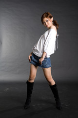 woman in boots posing