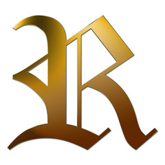 Gold letter R with silver edge in 3D