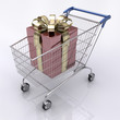 Concept of buying gift. Shopping cart with a gift inside.