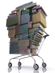 Concept of consumer. Shopping cart full of package.