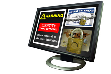 Monitor with chains and lock IDENTITY THEFT on screen