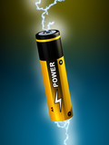 Electricity sparks going through a battery. Digital illustration poster