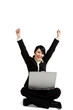 A happy and successfull businesswoman working with a laptop