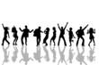 Leinwanddruck Bild - tanzende Personen - Silhouetten