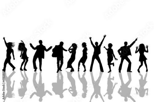 Leinwanddruck Bild tanzende Personen - Silhouetten