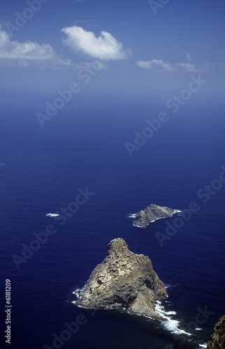 rocky islets in the blue ocean, Teneriffe, Canary Islands