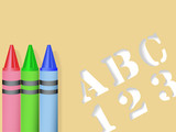 ABC 123 Stencil & Red Green Blue Crayons poster