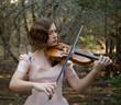 Violin Girl at Dusk