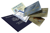 Various forms of identity license, credit and passport