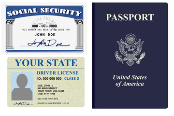 Various forms of identity license, social security and passport