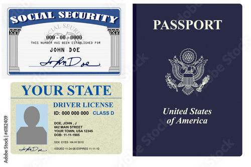 Various forms of identity license, social security and passport - 6182409
