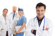 Caring team of medical doctors, surgeons, healthcare staff