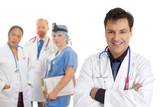 Caring team of medical doctors, surgeons, healthcare staff poster