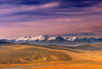 Colorful sunrise in Altai mountains