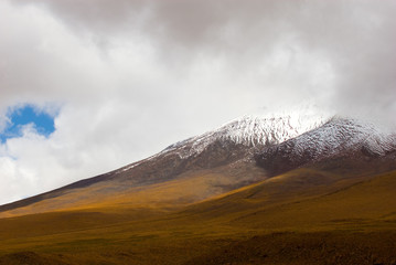 snowy peak of mountain, altiplano, bolivia