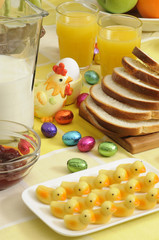 an easter table setting with fresh products