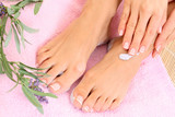 Fototapety legs and lavender cream - foot care
