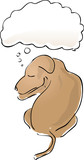 Illustration of a sleeping dog with a thought balloon