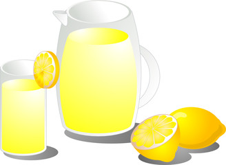 Illustration of lemonade in a pitcher and a glass