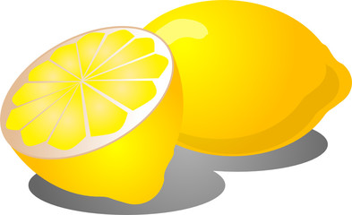 Illustration of a whole lemon and half lemon,  illustration